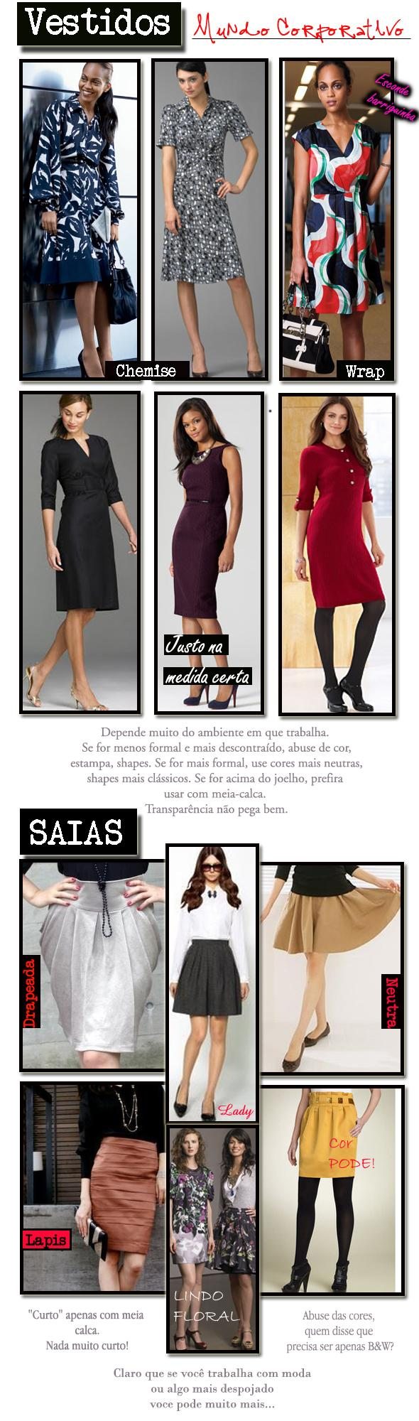 work clothes-saia e vestido glam4you